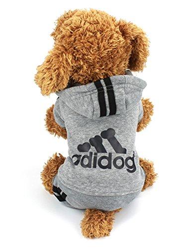 Idepet(TM) Adidog Pet Dog Cat Clothes 4 Legs Cotton Puppy Hoodies Coat Sweater Costumes Dog Jacket (XS, Gray)